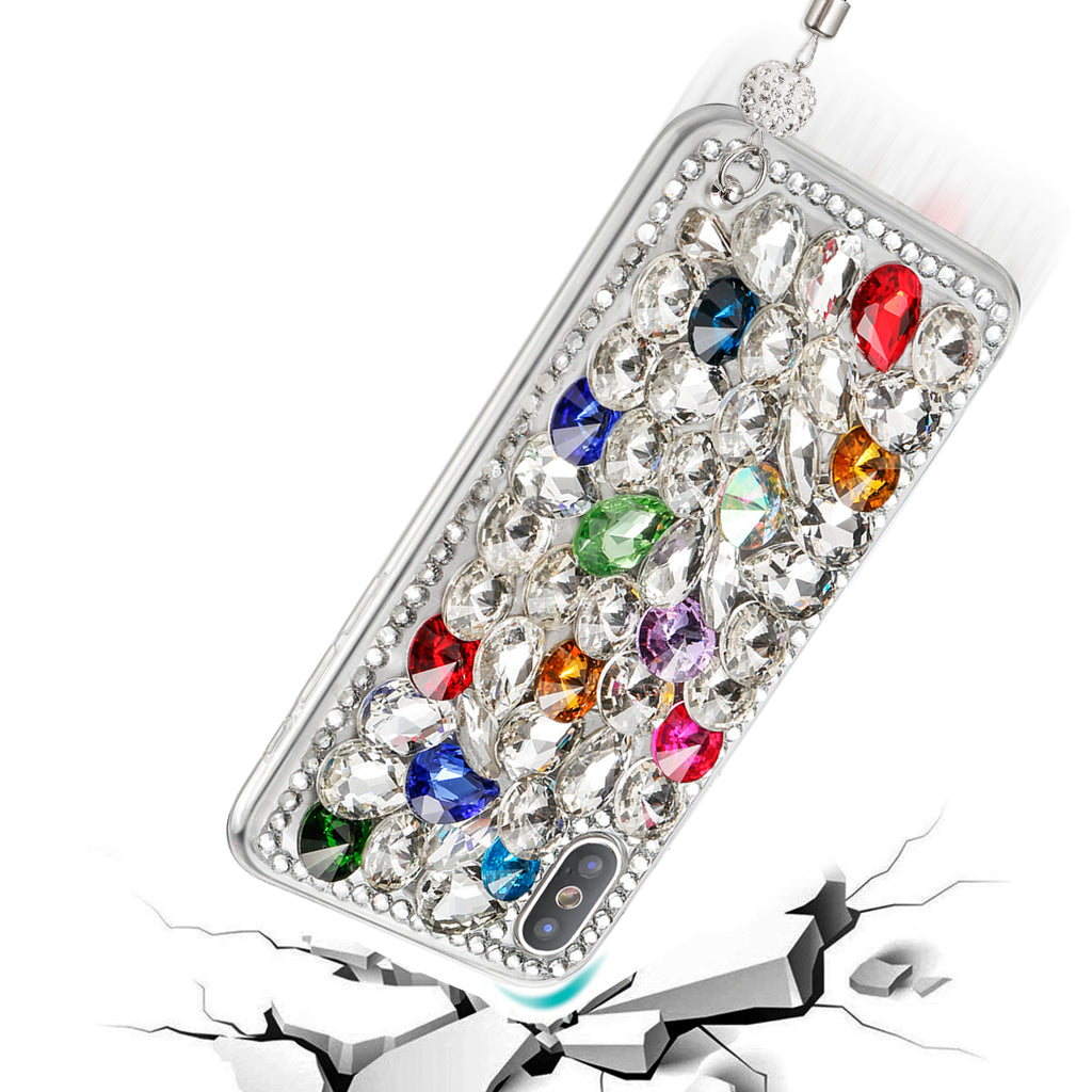 iPhone Xr Gitter Case 3D Handmade Bright Shining Crystal Rhinestone Back Case Bling Diamond with Lanyard (Pattern 1)