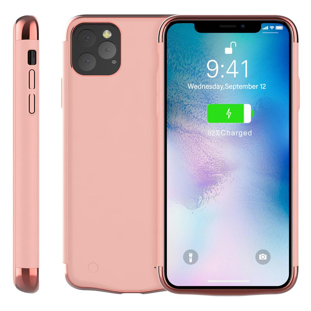 iPhone 11 Pro Max Battery Case 6000mah Extended Backup Protective Case Rose Gold