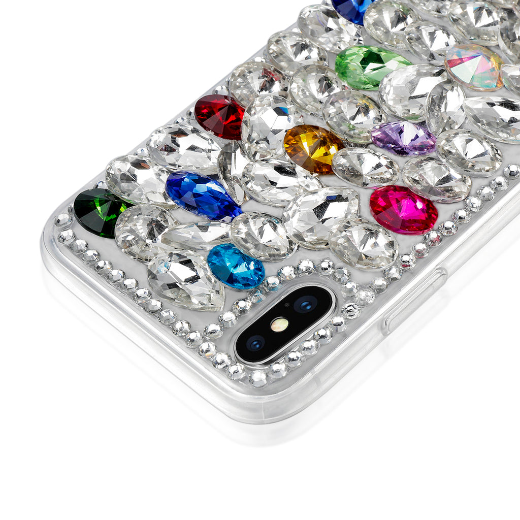 iPhone Xs Max Case Shining Crystal Rhinestone 3D Handmade Bright Back Case Bling Diamond with Lanyard (Pattern 1)