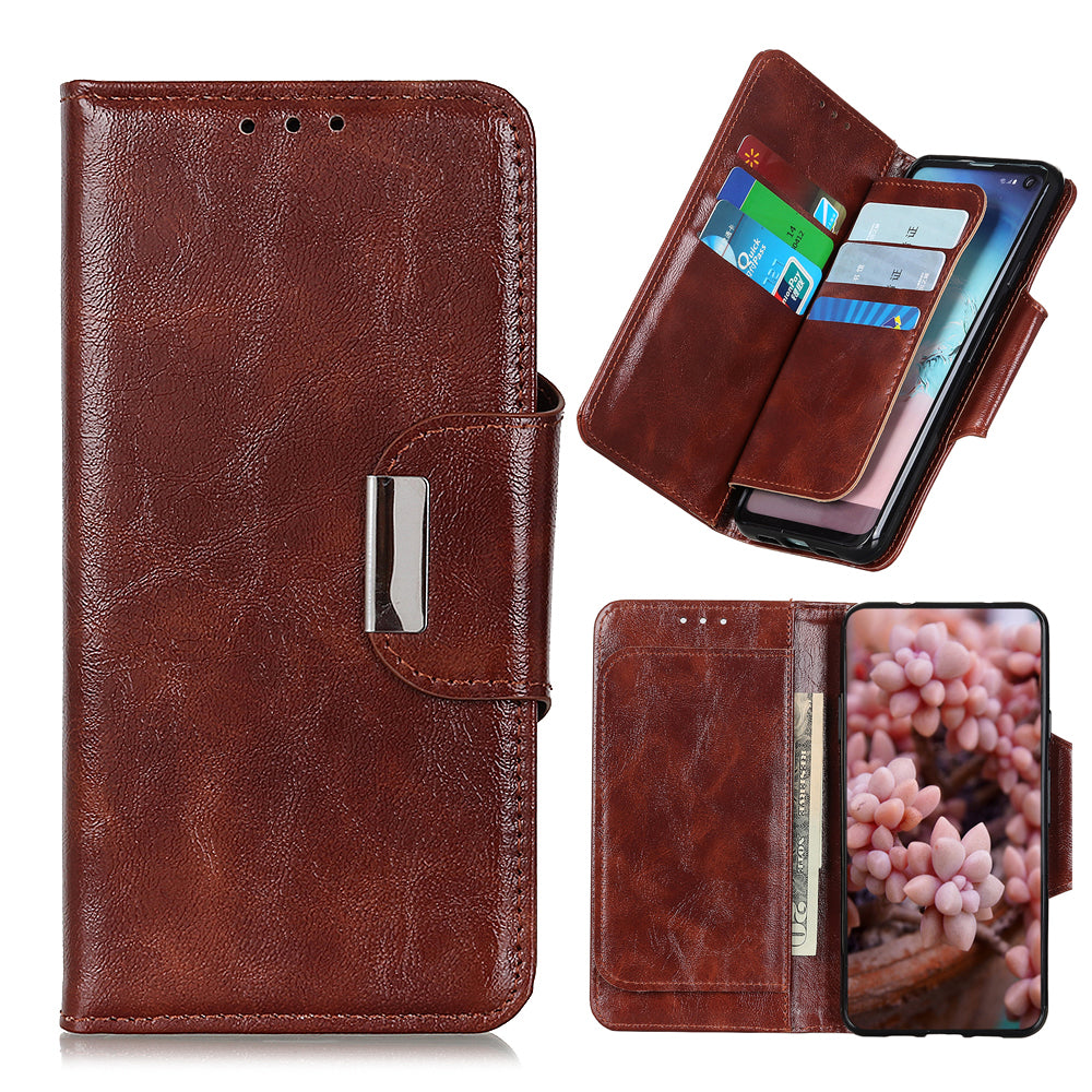 Realme 3i PU Leather Case with Multiple Credit Card Slots Folio Flip Stand Wallet Cover Brown
