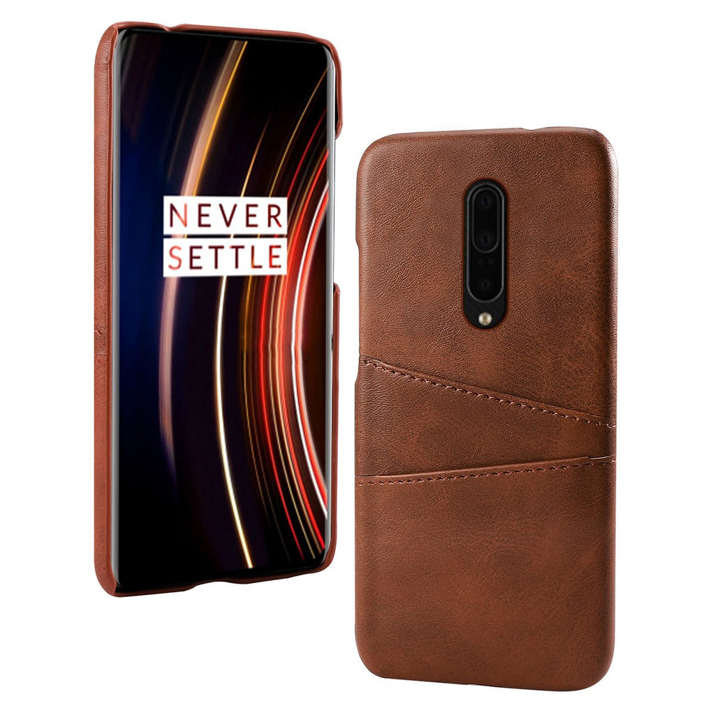 OnePlus 7T Pro Case with 2 Card Holder Shockproof PC Back Protective Shell Dark Brown