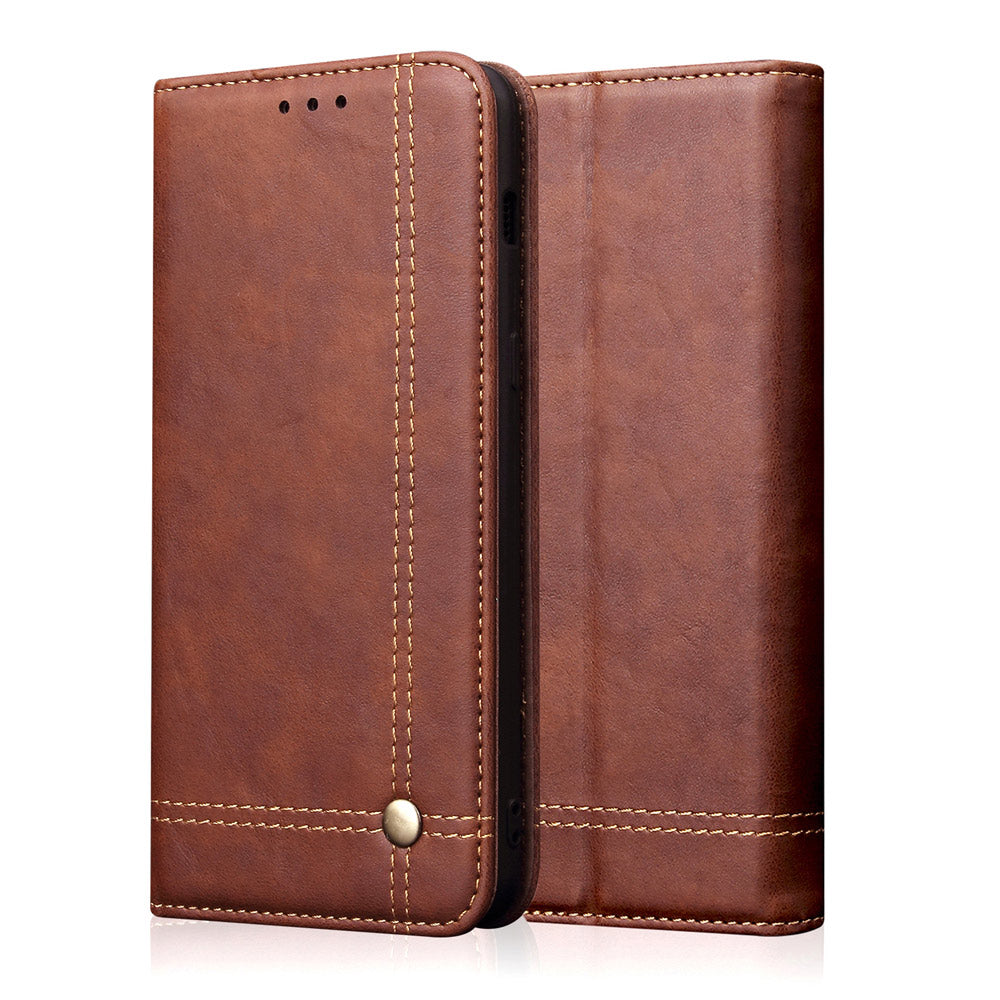 iPhone 11 pro max Leather Case with Magnetic Closure Credit Card Slot Slim Retro Wallet Brown