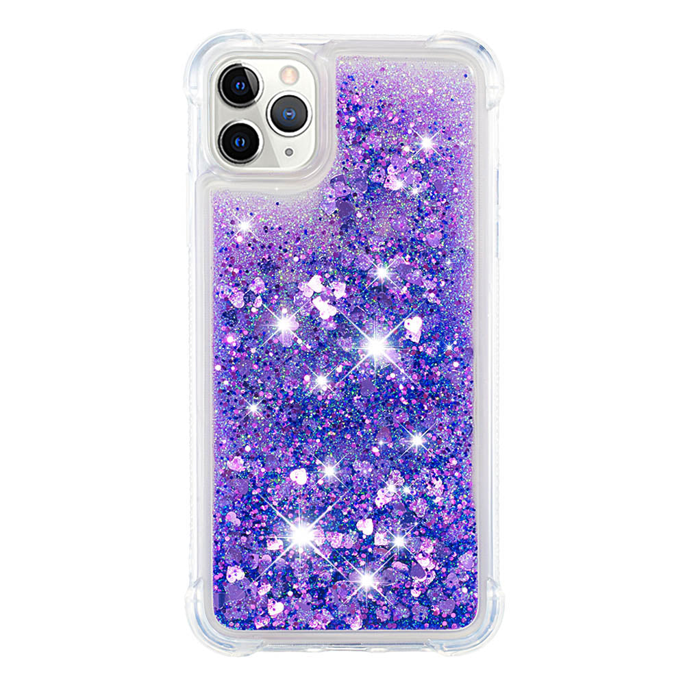 iPhone 11 Pro Case Glitter 3D Bling Sparkle Flowing Liquid TPU Case for Girls Purple