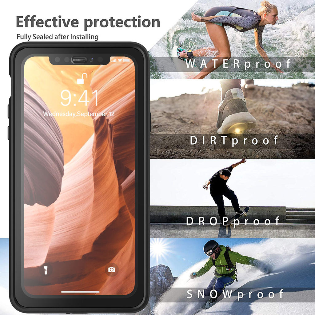 iPhone 11 Pro Max Waterproof Case Built-in Screen Dropproof Cover with Strap