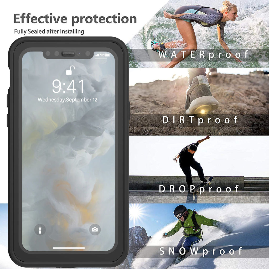 iPhone 11 Pro IP68 Waterproof Underwater Protective Cover with Floating Strap Black
