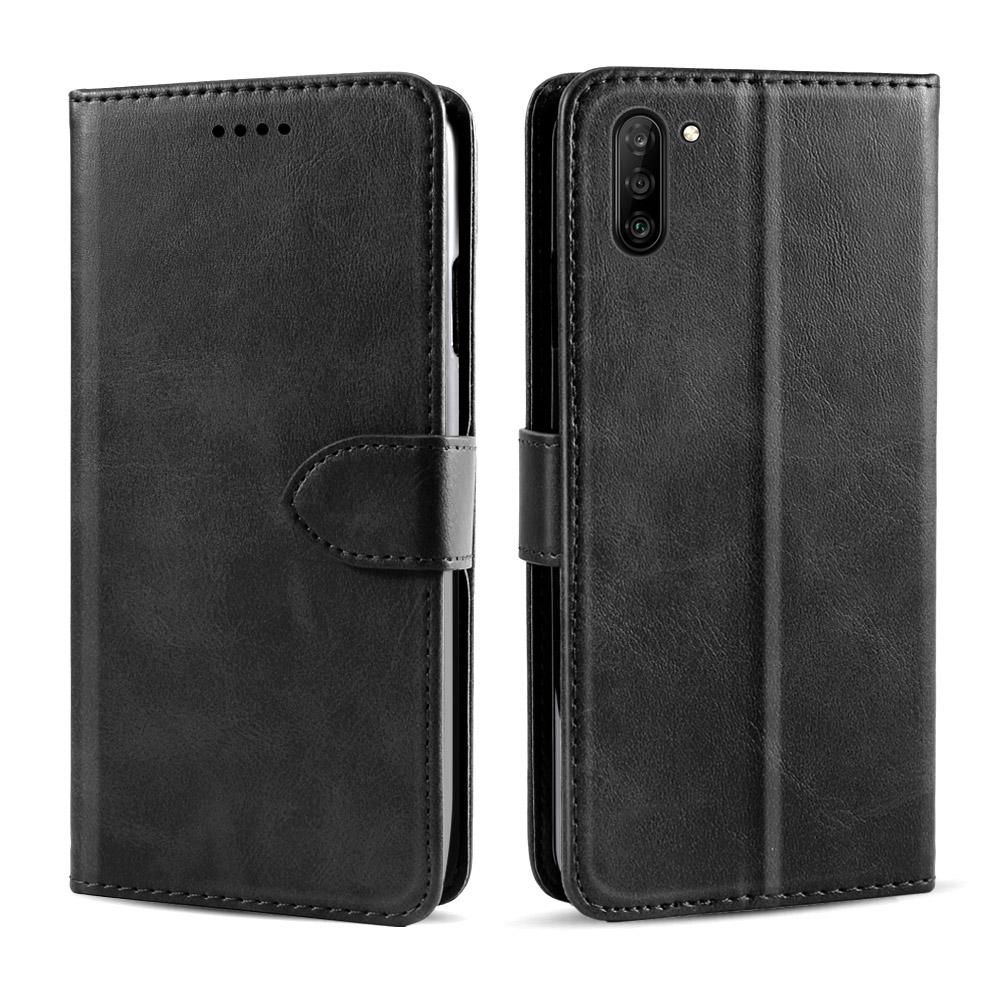 Leather Case for Galaxy Note 10 Vintage Folding Flip Wallet with Kickstand & Card Slots Black
