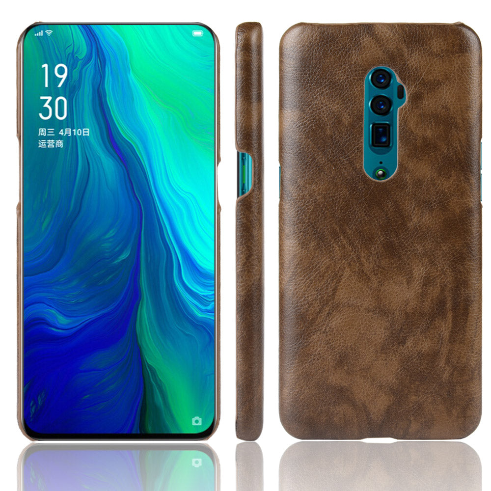 Case for Oppo Reno 10x Zoom Anti Fall Protective Phone Cover PU Lichee Pattern Brown