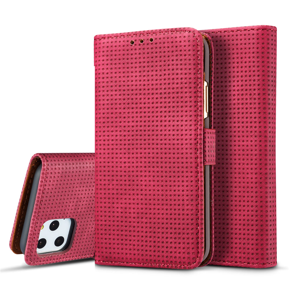 iPhone 11 pro Leather Case Mesh Style Wallet Case Cover with Card Holders Red