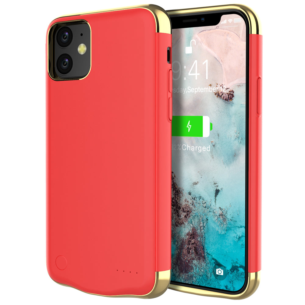 iPhone 11 6000mah Battery Case Rechargeable Extended Battery Cover for Women Red