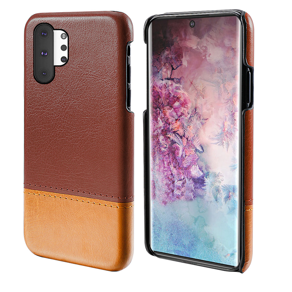 Hard Phone Case for Galaxy Note 10 plus Splicing PU Leather Anti Scratch Cover Brown-light brown