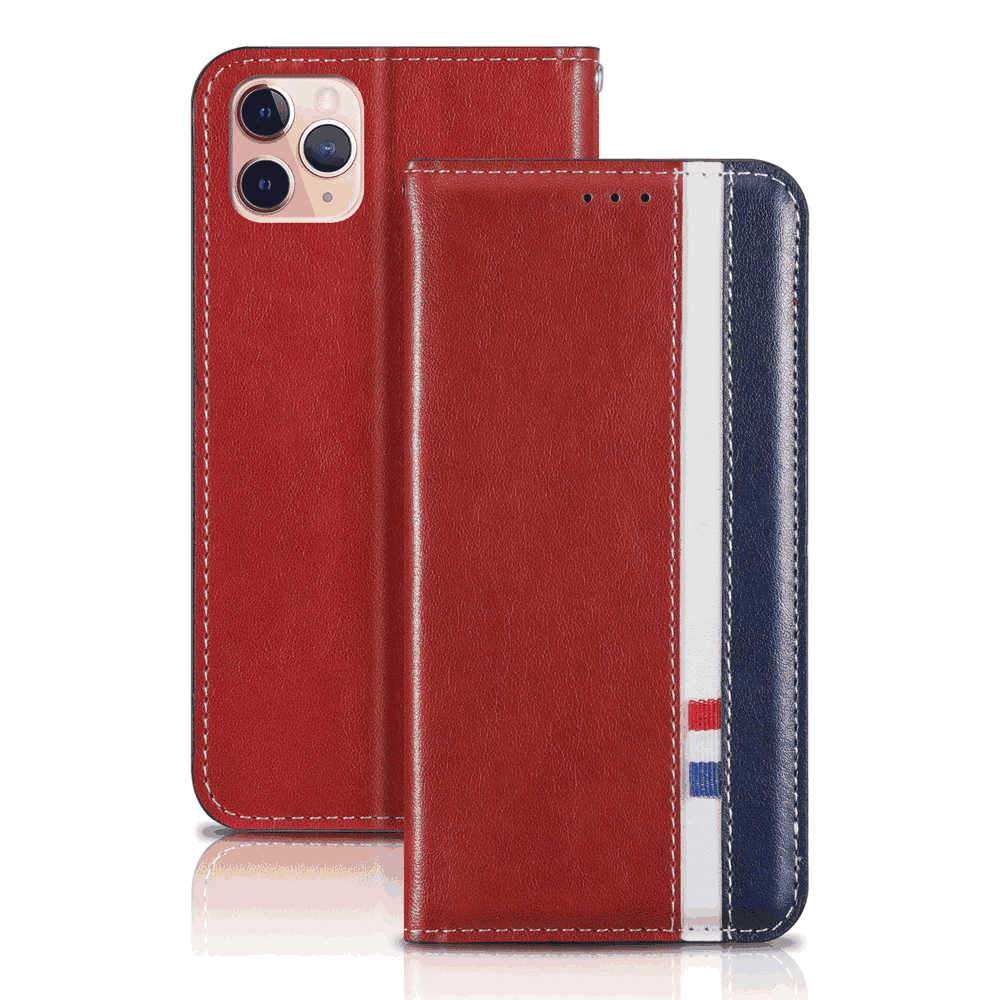 iPhone 11 Pro Wallet Case with Card Slot PU Leather Case Scratch Resistant Protective Shell Flip Stand Cover Red