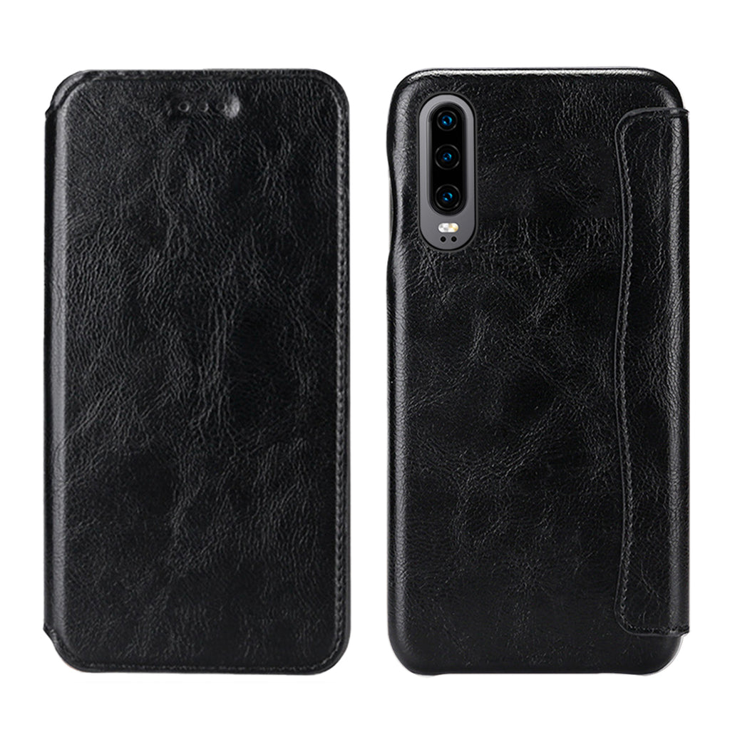 Huawei P30 Leather Case Card Slot Anti Fall Phone Protection Wallet for Business Men Black