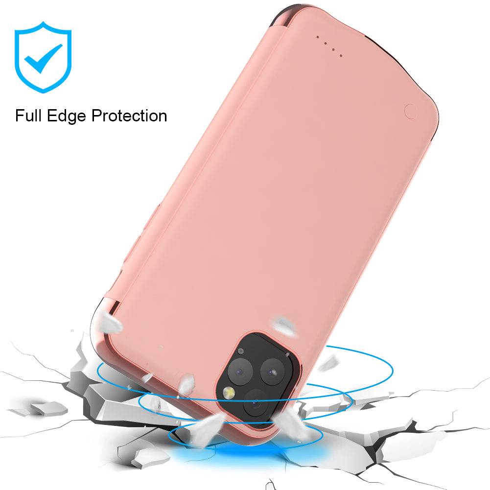 Battery Case for iPhone 11 pro 5500mah Charger Case External Battery Pack Rose Gold
