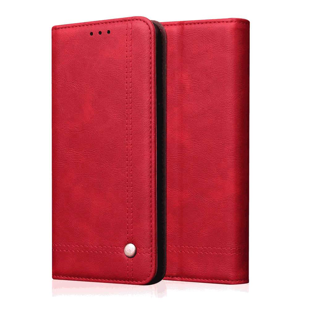 Samsung Galaxy A51 Wallet Case Retro PU Leather Flip Stand Cover with Card Slots Red