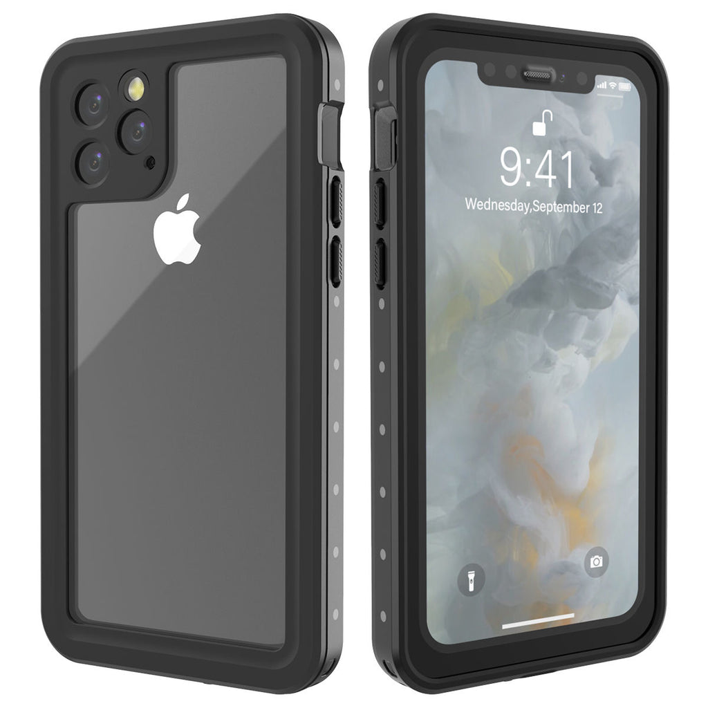 iPhone 11 Pro Waterproof Case Full Sealed Protection Phone Shell Ultra Thin Cover with Floating Strap Black