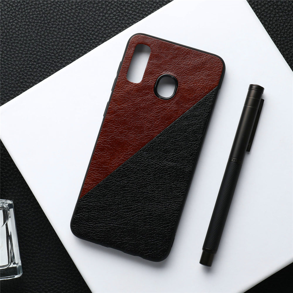 Samsung Galaxy A20 Case Hard PU Anti-Scratch Protective Cover with TPU Frame Brown+Black