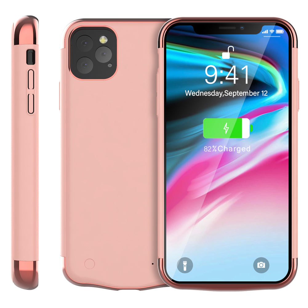 iPhone 11 pro max Battery Case 6000mAh Slim Extended External Charging Case Rose Gold