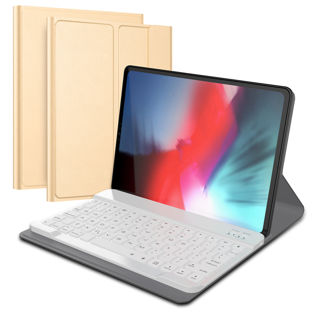 iPad Pro 12.9 Inch 2018 Tablet Leather Case with 7 Colors Backlight Wireless USA Keyboard Golden