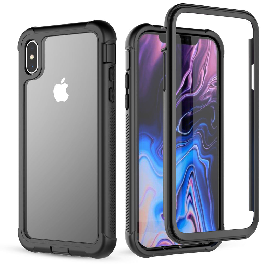 Moonmini iPhone Xs Max Case Tempered Glass Back Cover