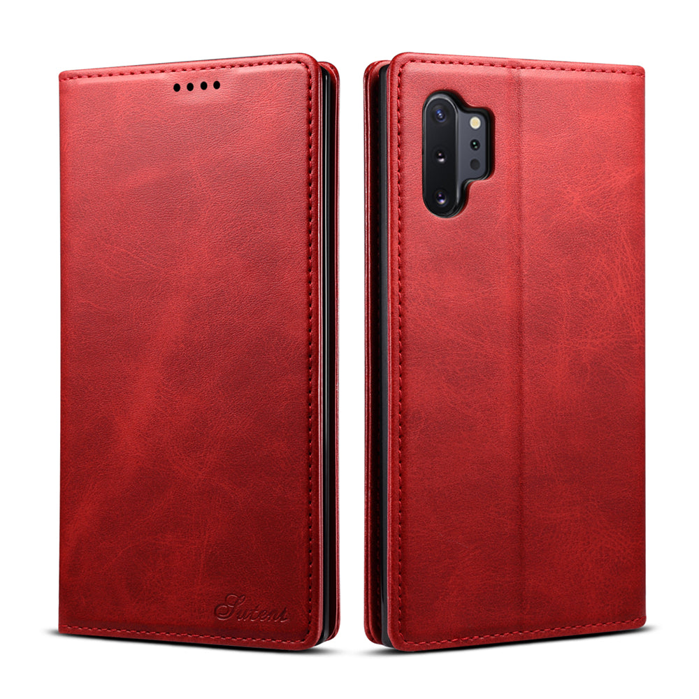 Galaxy Note 10 Plus 5G Wallet Case with Card &Banknote Slots Flip Leather Case Red