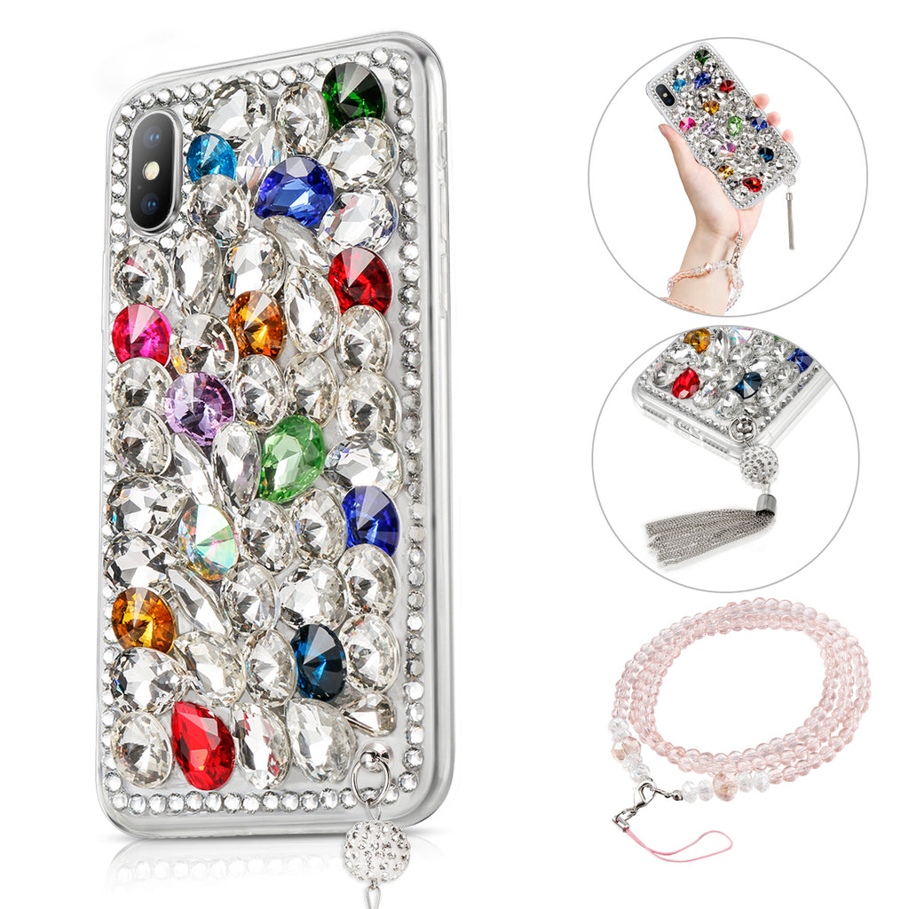 iPhone Xs Case 3D Handmade Bright Shining Crystal Rhinestone Back Case Bling Diamond with Lanyard (Pattern 1)