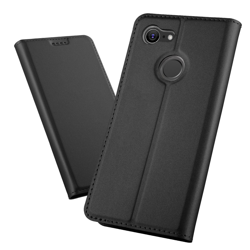 Google Pixel 3 Case PU Leather Flip Stand Wallet Case Full Body Protective Phone Cover with Card Holders (Black)