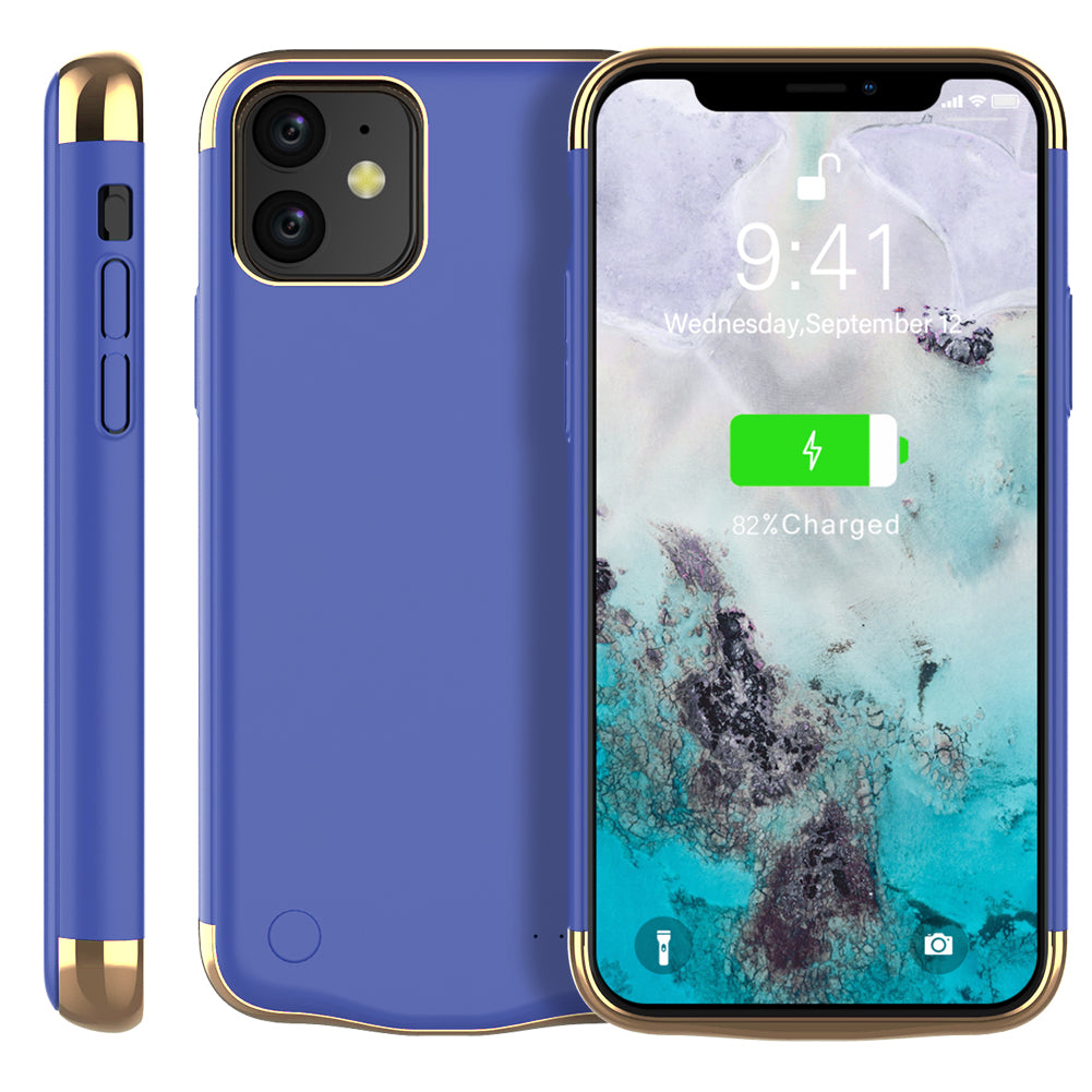 Battery Case for iPhone 11 6000mAh Portable Rechargeable Charger Case Protective Backpack Blue