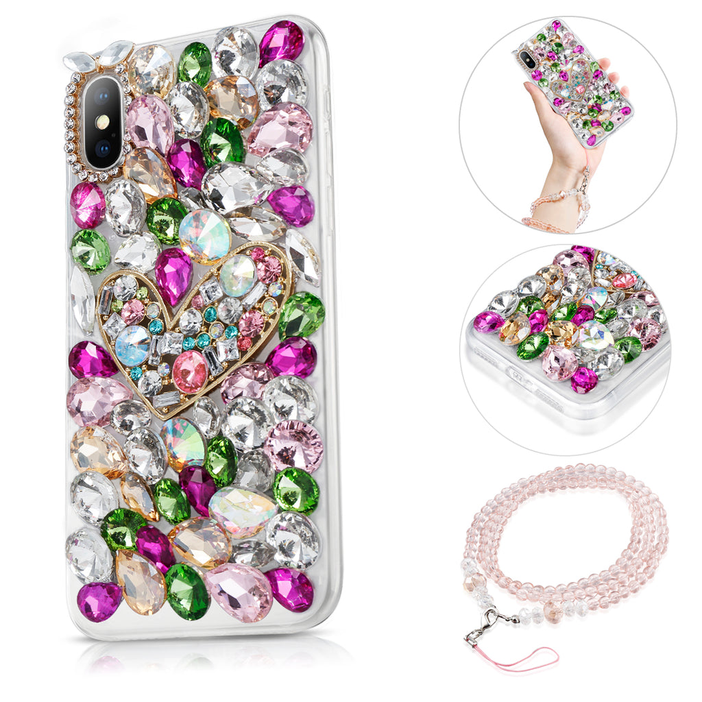 iPhone Xs Max Bling Diamond Case with Lanyard 3D Handmade Bright Shining Crystal Rhinestone Back Case