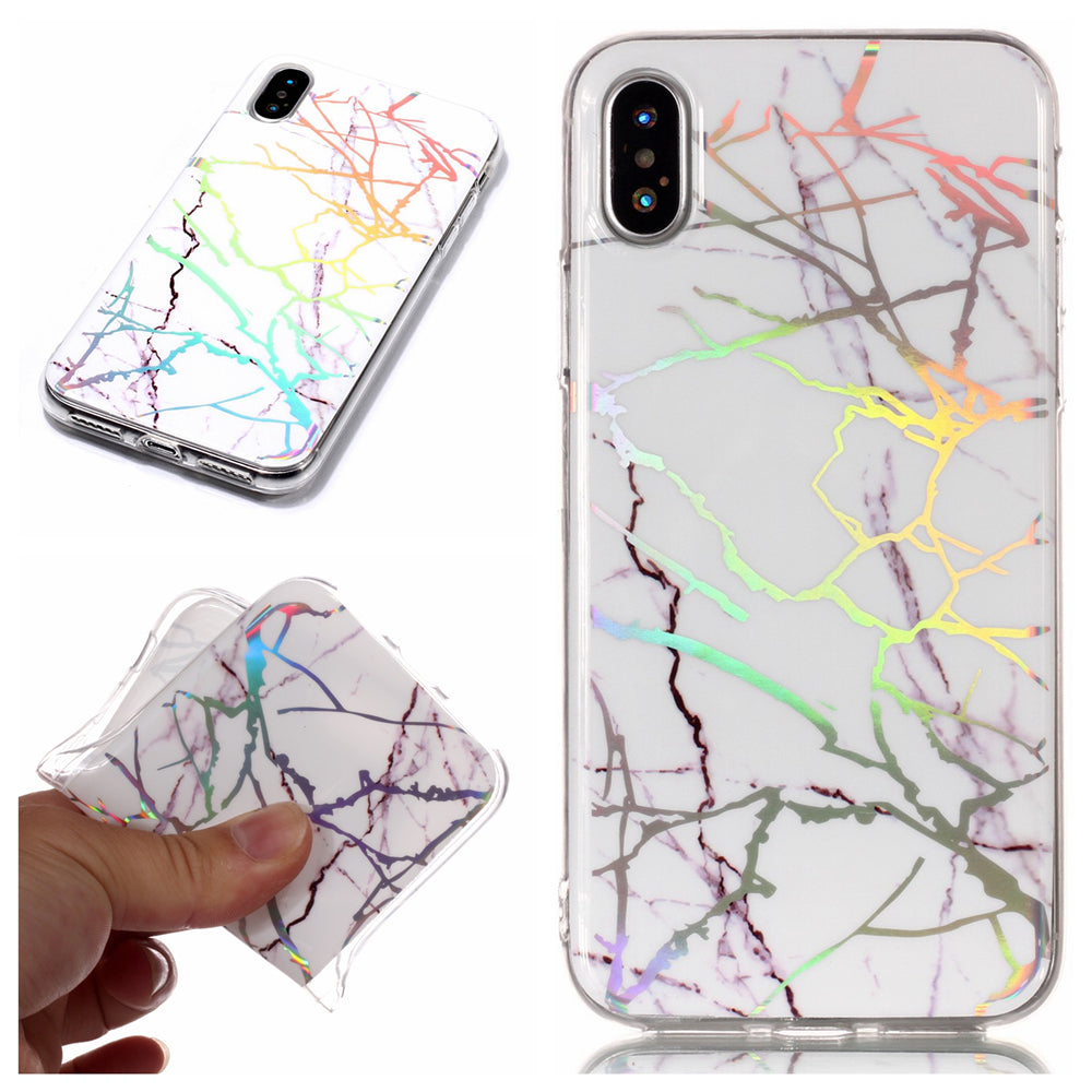 Marble iPhone Xs Case Ultra Slim Fit Soft TPU Marble Phone Case Anti-Scratch Protective Cover Gloss White
