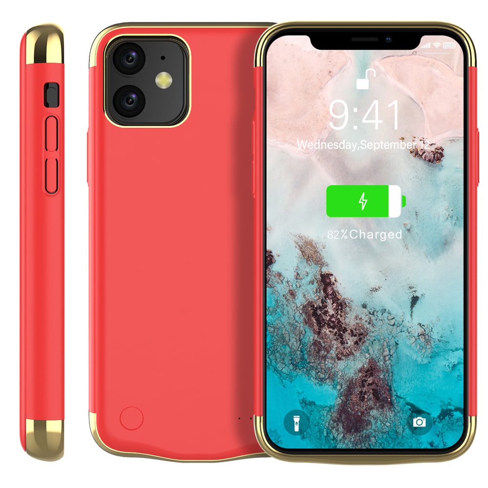 iPhone 11 Battery Case Slim Rechargeable Extended Protective Battery Power Bank 6000mah Red