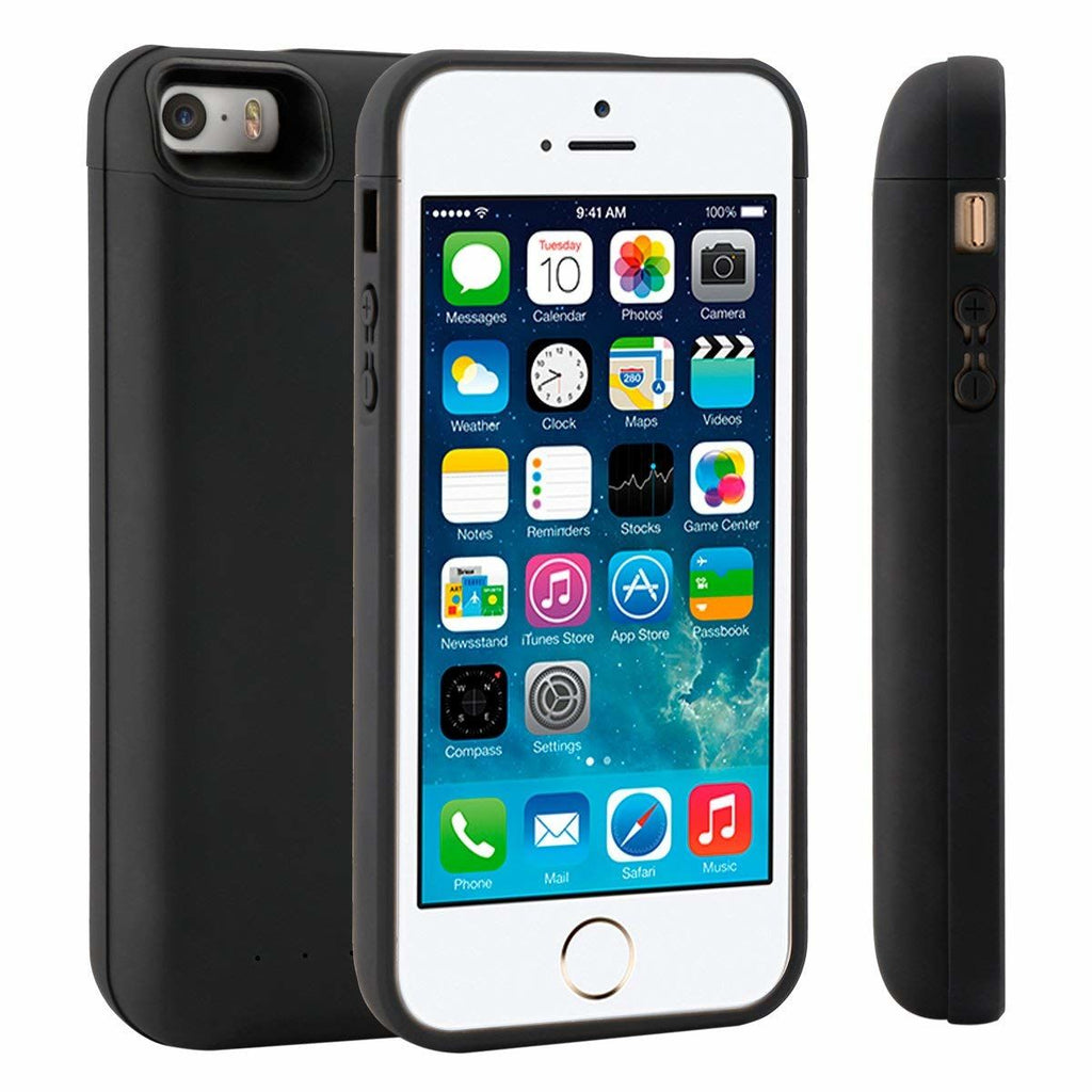 iPhone 5 5S SE Battery Case 4000mAh Rechargeable External Battery Backup Cover Black