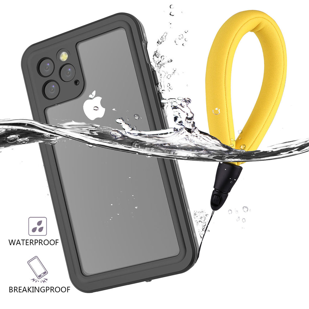 iPhone 11 pro Waterproof Case IP68 Certified Anti Drop Cover with Floating Strap Black