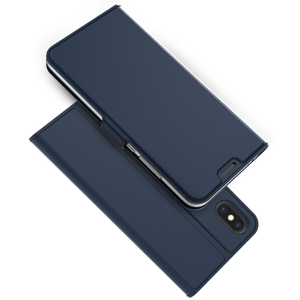 iPhone Xs Max Leather Case Flip Wallet Case Full Body Pocket Cover with Card Holders Blue