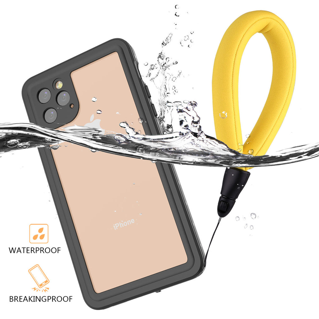 iPhone 11 pro max waterproof case full sealed IP68 underwater cover floating strap black