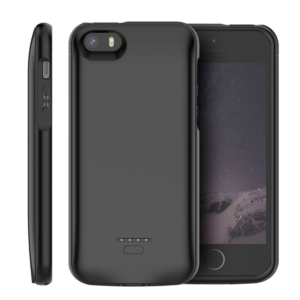 iPhone SE 5 5S Battery Case 4000mAh External Charger Cover Backup Power Bank Protective Black