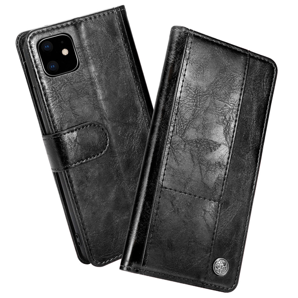 iPhone 11 pro Leather Case Multiple Card Slots Wallet Protective Cover Black