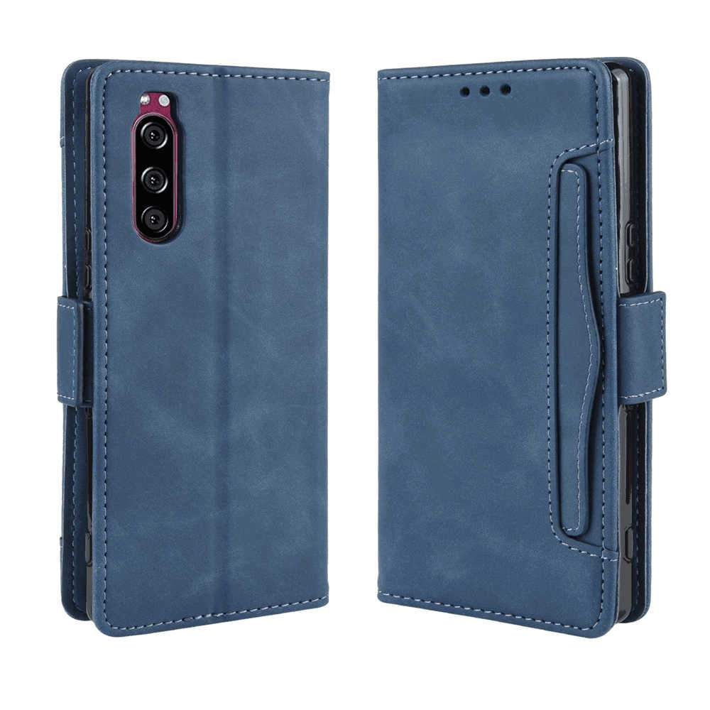 Wallet Case for Sony Xperia 5 TPU and PU Leather Flip Cover with Card Slots and Stand Blue