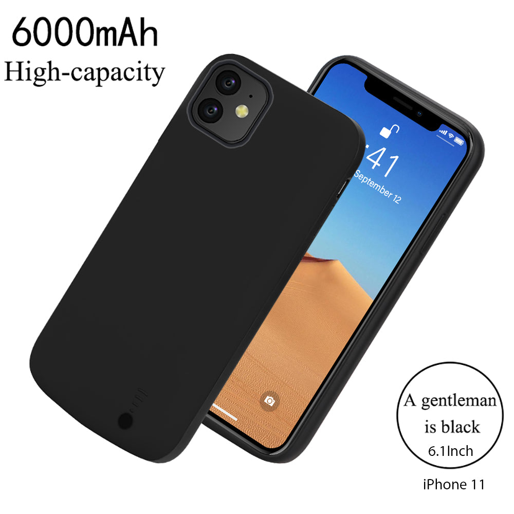 iPhone 11 Battery Case 6000mAh External Portable Protective Charging Case Backup Black