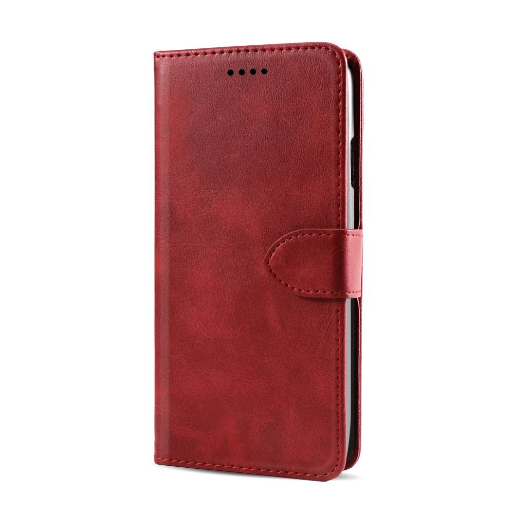 Galaxy Note 10 Plus Leather Case Folio Wallet Case with Kickstand Credit Card Holder Red
