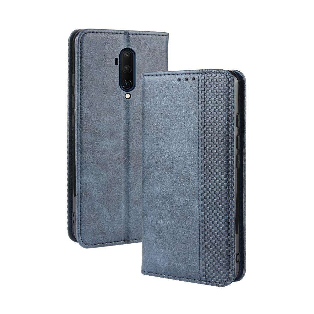 OnePlus 7T Pro Leather Wallet case with ID&Credit Cards Pocket Blue