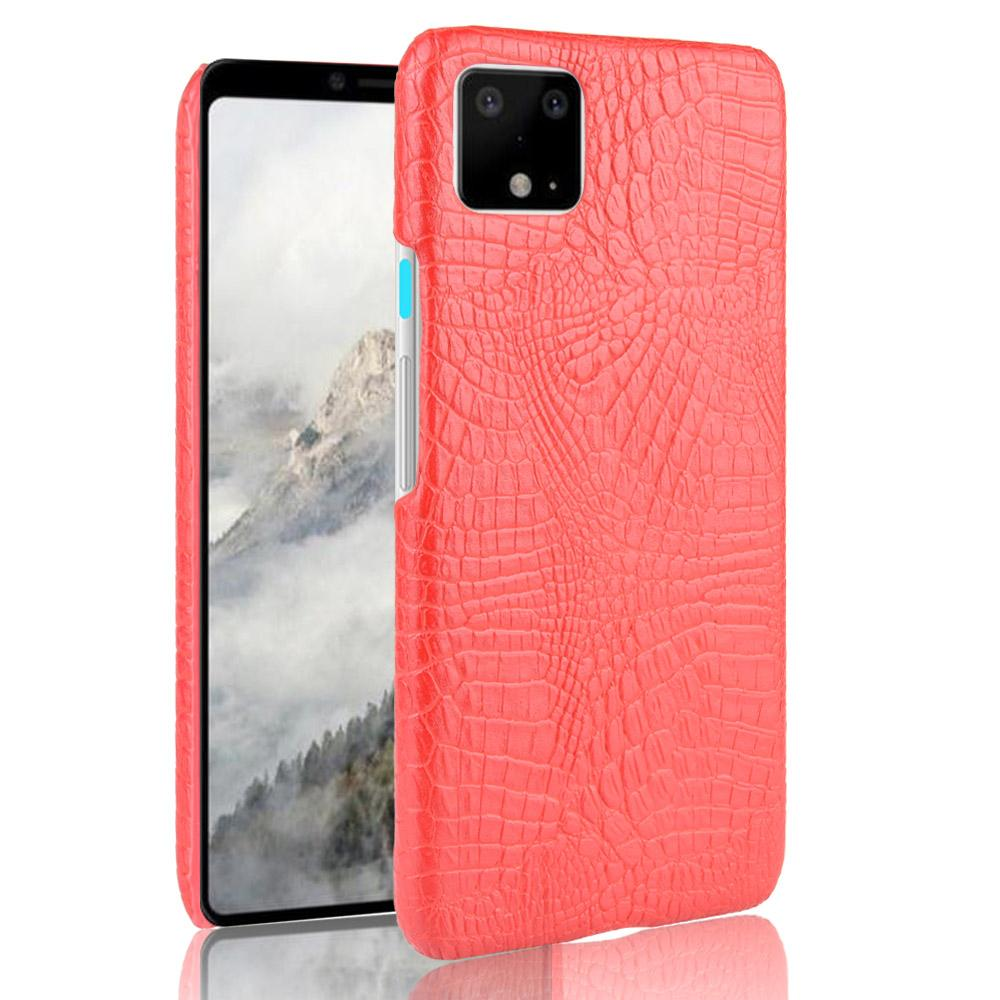 Pixel 4 Case PC Hard Durable Shell with Raised Lips Crocodile Pattern Cover for Women Red