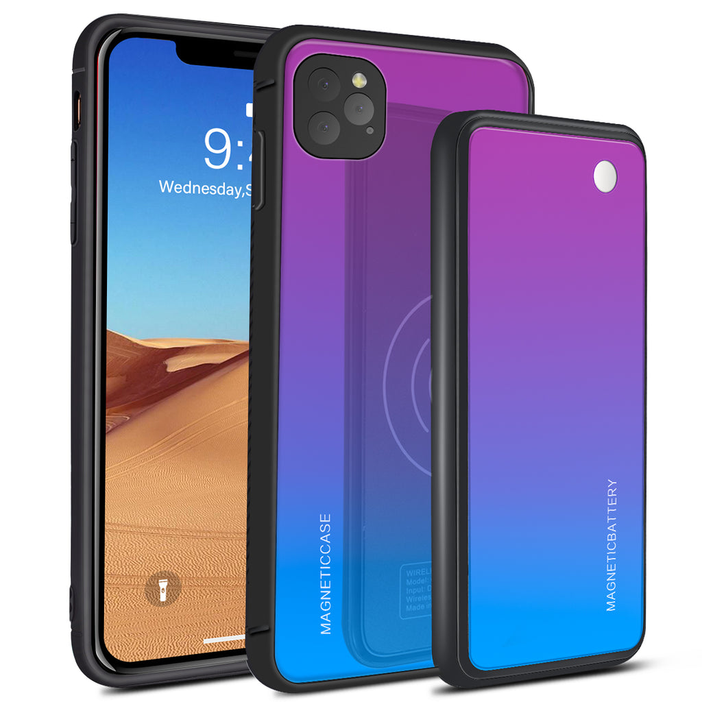 iPhone 11 Pro Max Battery Case 5000mAh Extended Pack Fast Wireless Charger Scratch Resistance Blue