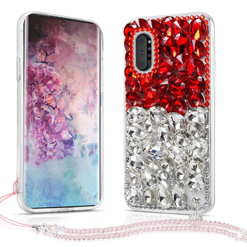 Samsung Galaxy Note 10 plus TPU Bumper Case Crystal Rhinestone Shockproof Cover Red&White