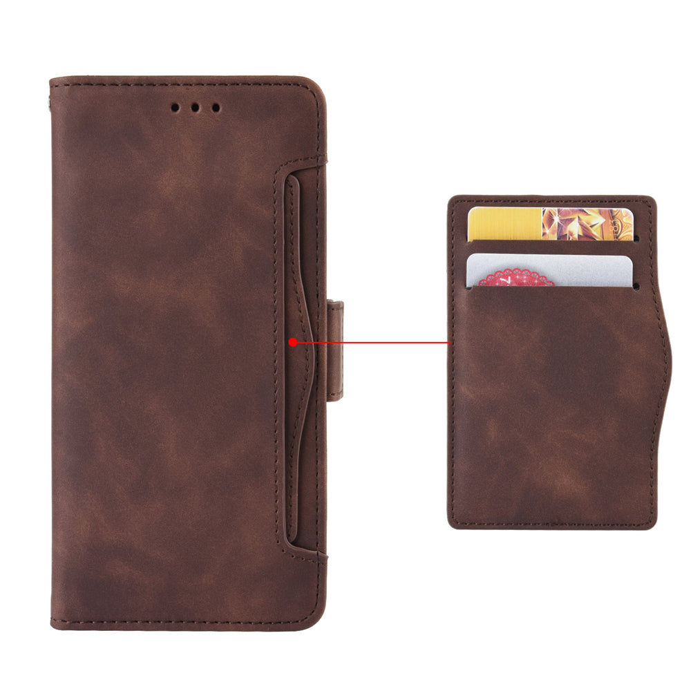 Pixel 4 XL Leather Case Card Slots Magnetic Closure Full Body Protective Cover Brown