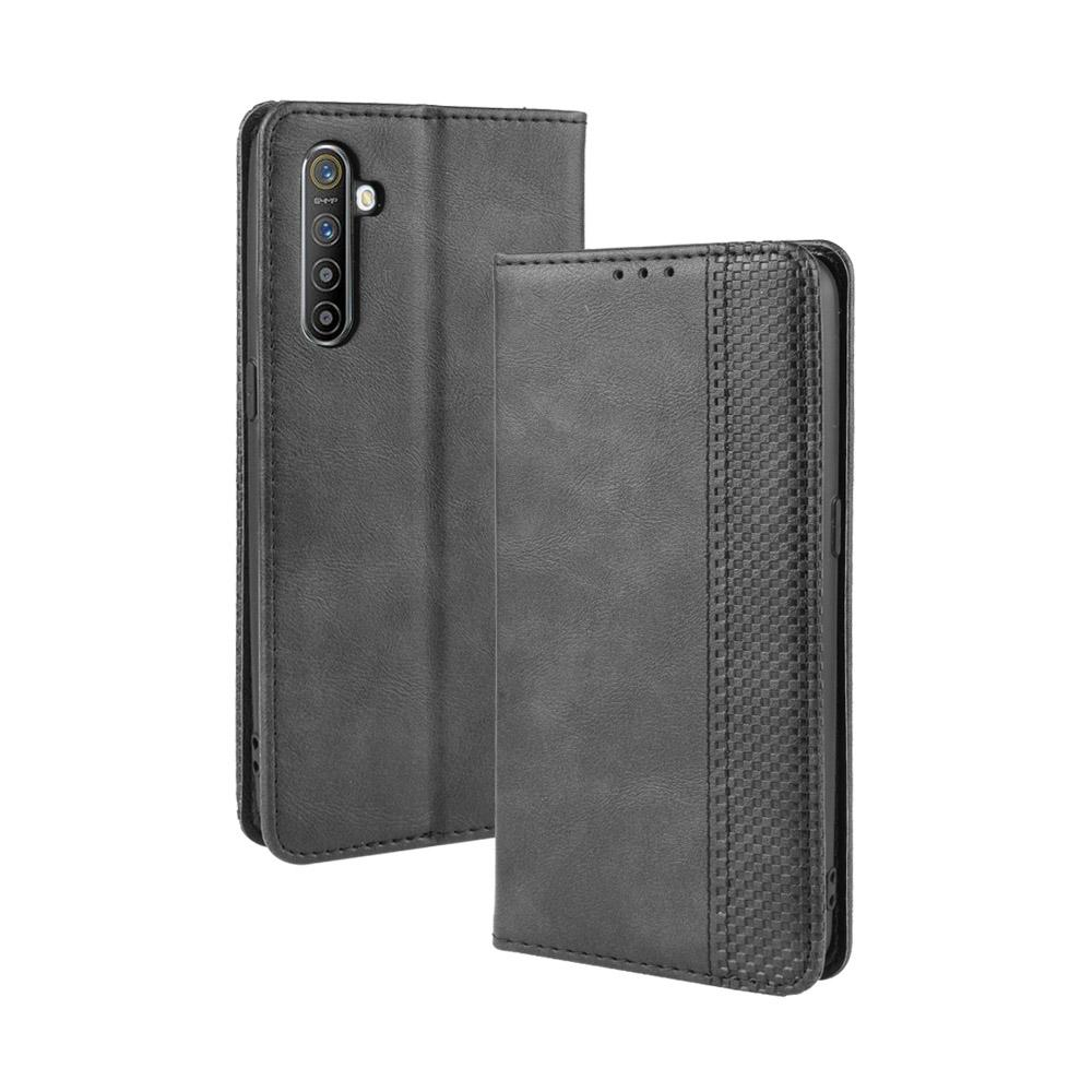 Realme X2 Wallet Case Vintage Leather Magnetic Flip Stand Cover with Card Slots Black