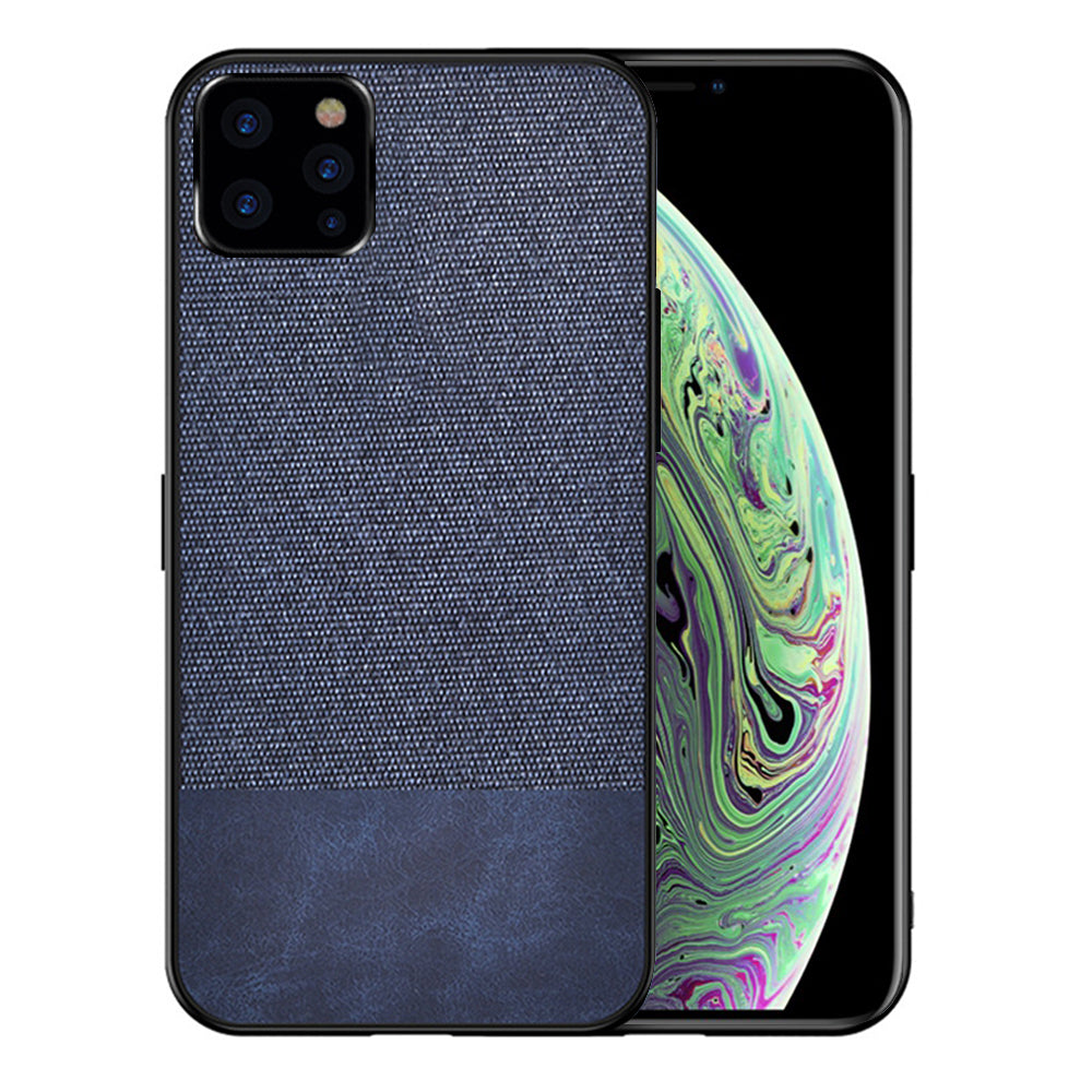 iPhone 11 pro max Case TPU Hybrid Bumper Protective Hard Fabric Cover Blue