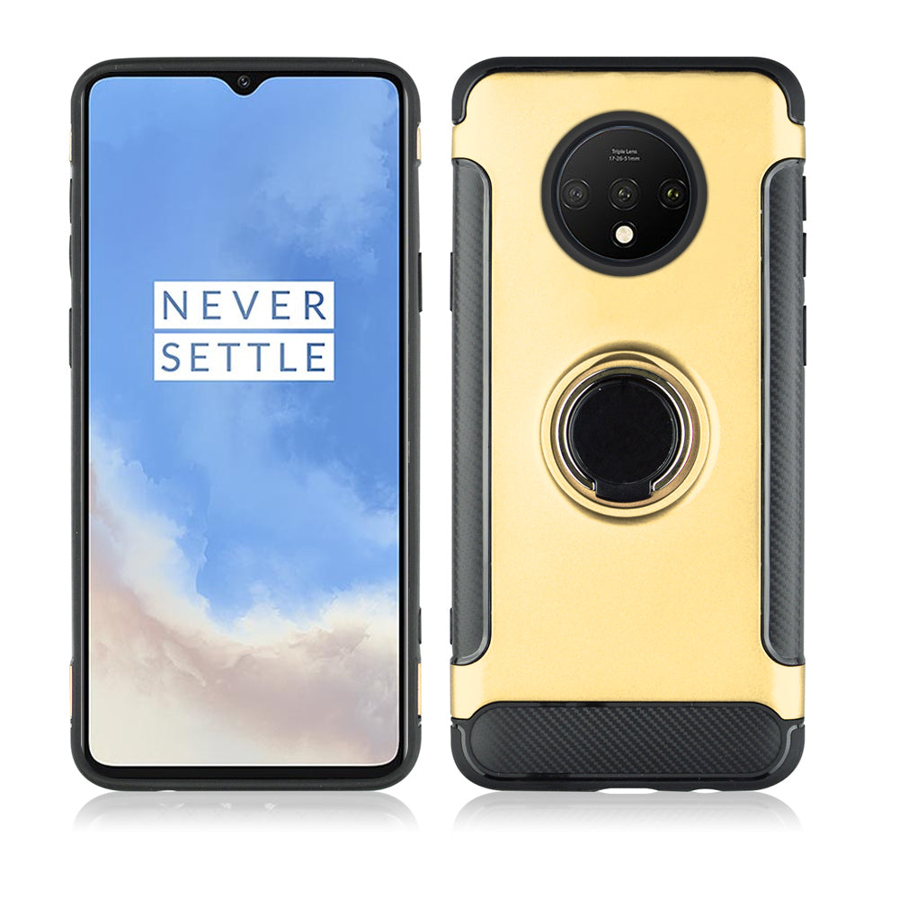 Oneplus 7T PC Case TPU Ultra Slim Case Full Body Bumper Cover with Stand Golden