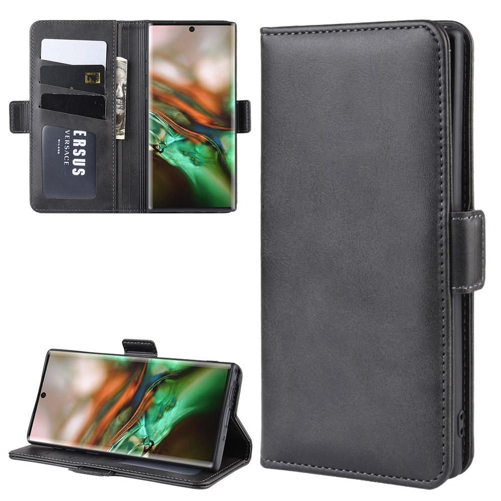 Wallet Case for Galaxy Note 10 Flip Fold Kickstand with Card Holders Black