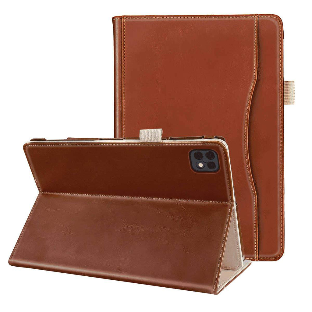 iPad Pro 12.9 Inch 2020 Case PU Leather Tablet Case with Magnetic Closure Front Pocket Pen Holder Flip Stand Cover Brown