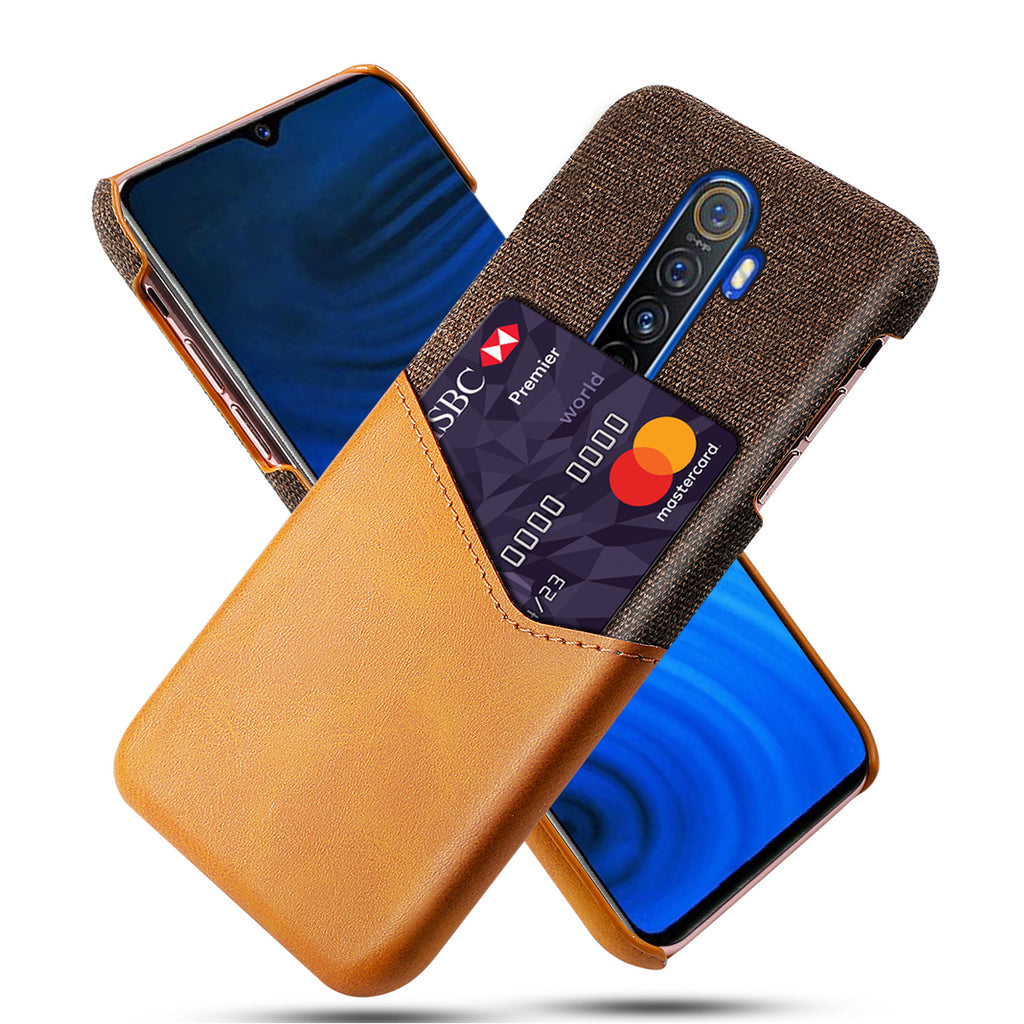 Slim Card Case for Realme X2 Pro Fabric Protection Cover with Leather Card Holder Slot Orange